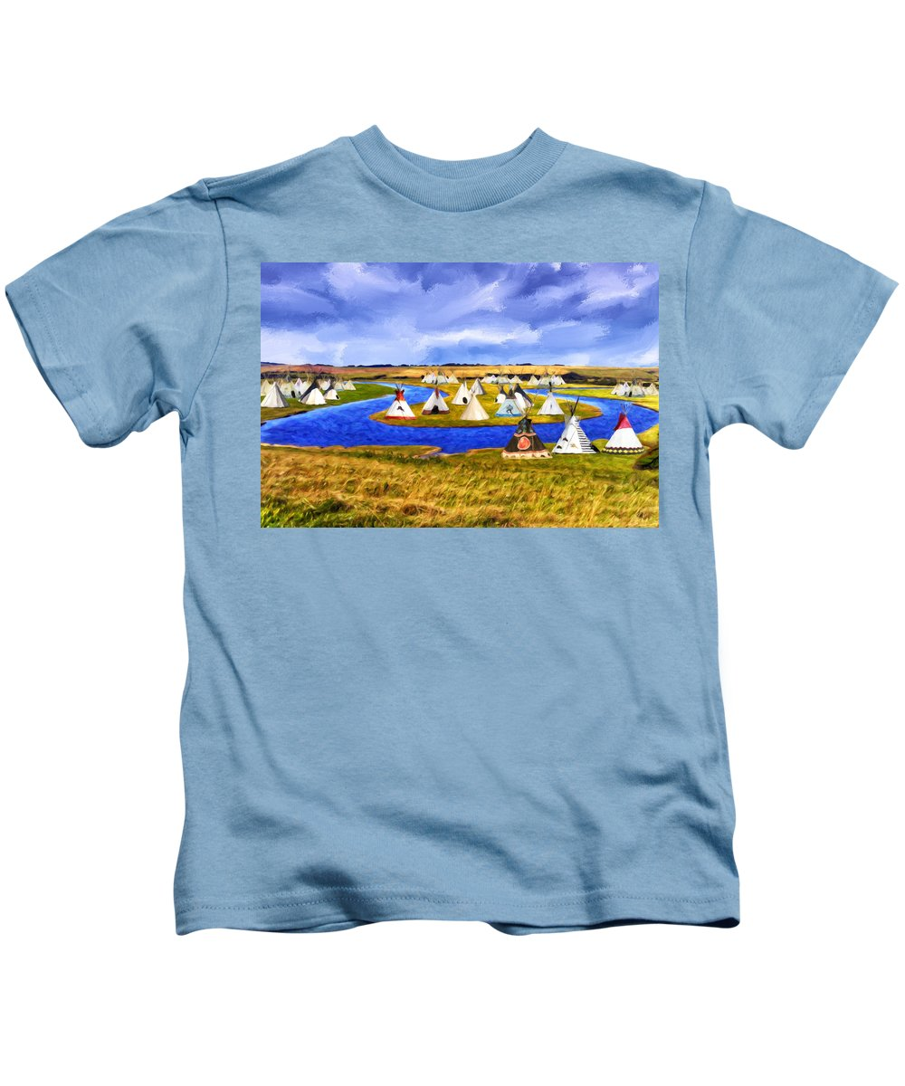 Winter Kids T-Shirt featuring the painting Winter Gathering Place by Dominic Piperata