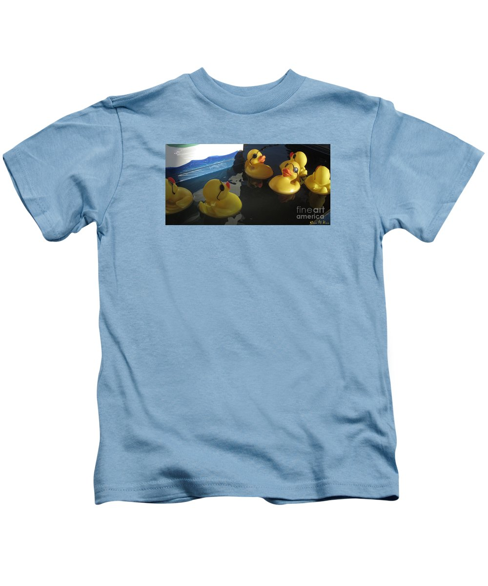Ducks Kids T-Shirt featuring the photograph Yellow Rubber Duckies by Donna Brown