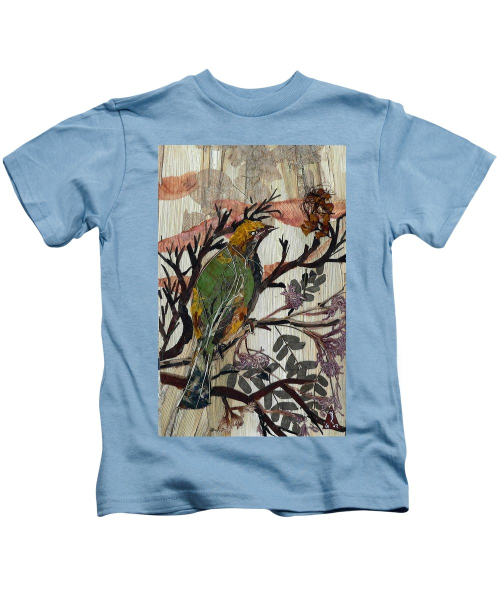 Green Bird Kids T-Shirt featuring the mixed media Green-yellow Bird by Basant Soni