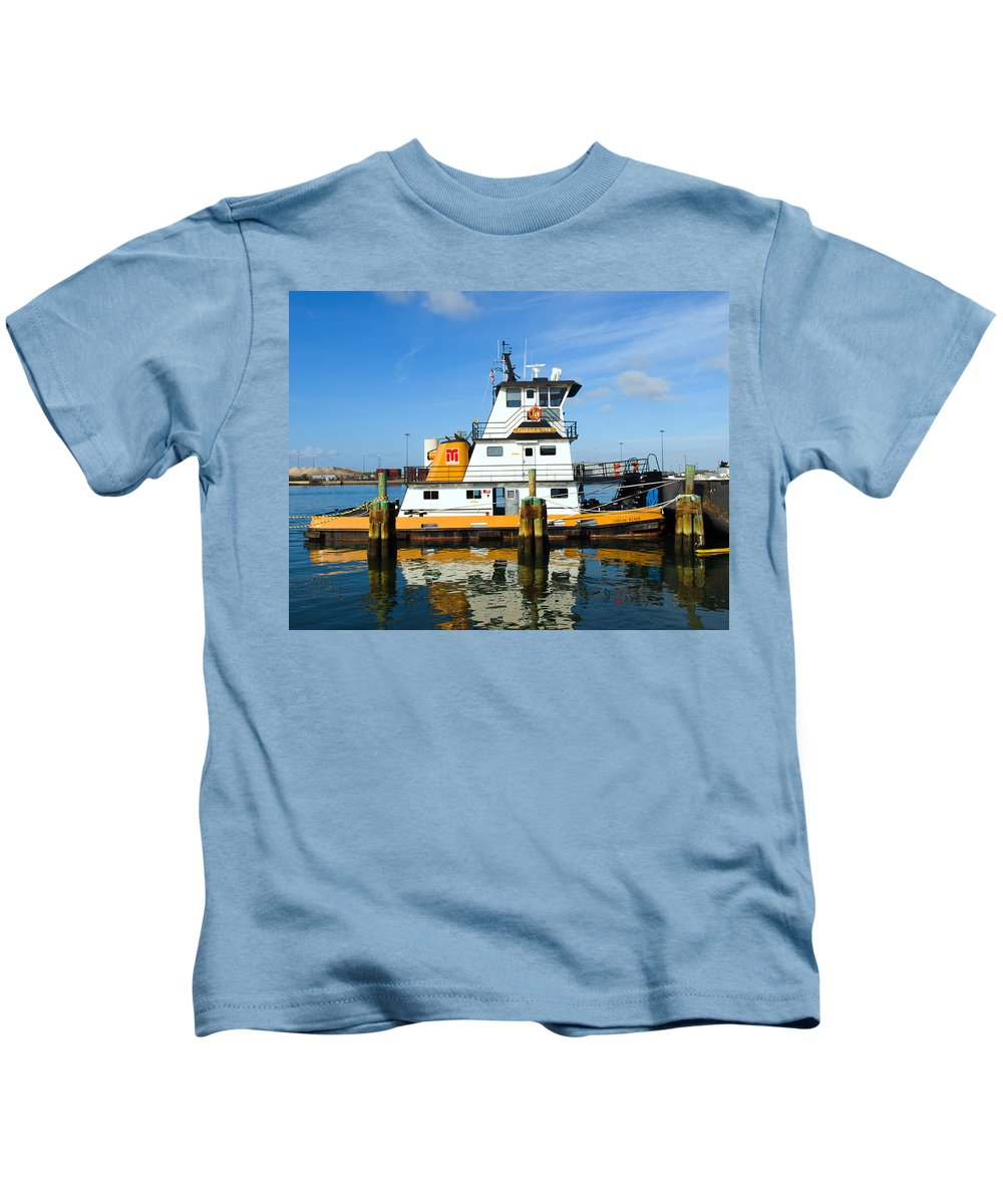Florida; East; Space; Coast; Tug; Boat; Tugboat; Tow; Towboat; Pusher; Pushes; Push; Cargo; Fuel; Oi Kids T-Shirt featuring the photograph  Tug Indian River Is Part Of The Scene At Port Canvaeral Florida by Allan Hughes