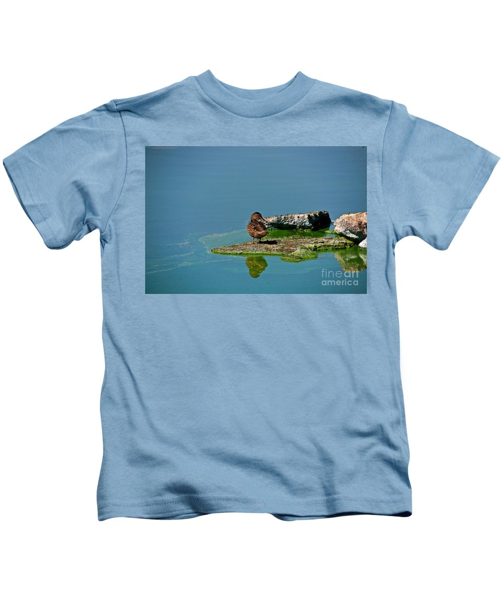 Duck Kids T-Shirt featuring the photograph Alone by Robert Pearson