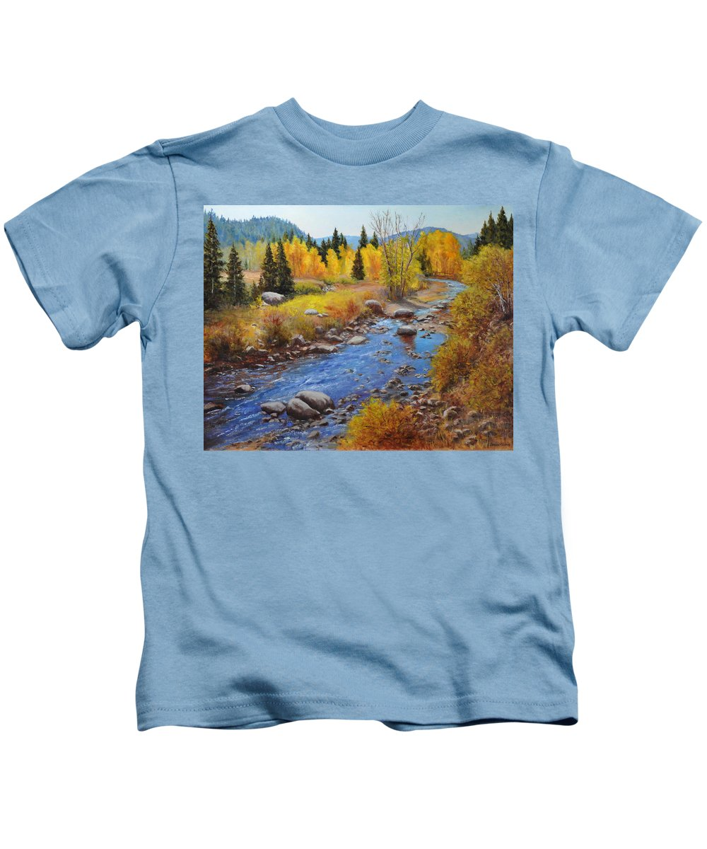 Landscape Kids T-Shirt featuring the painting Autumn On The Truckee by Loreen Thomas