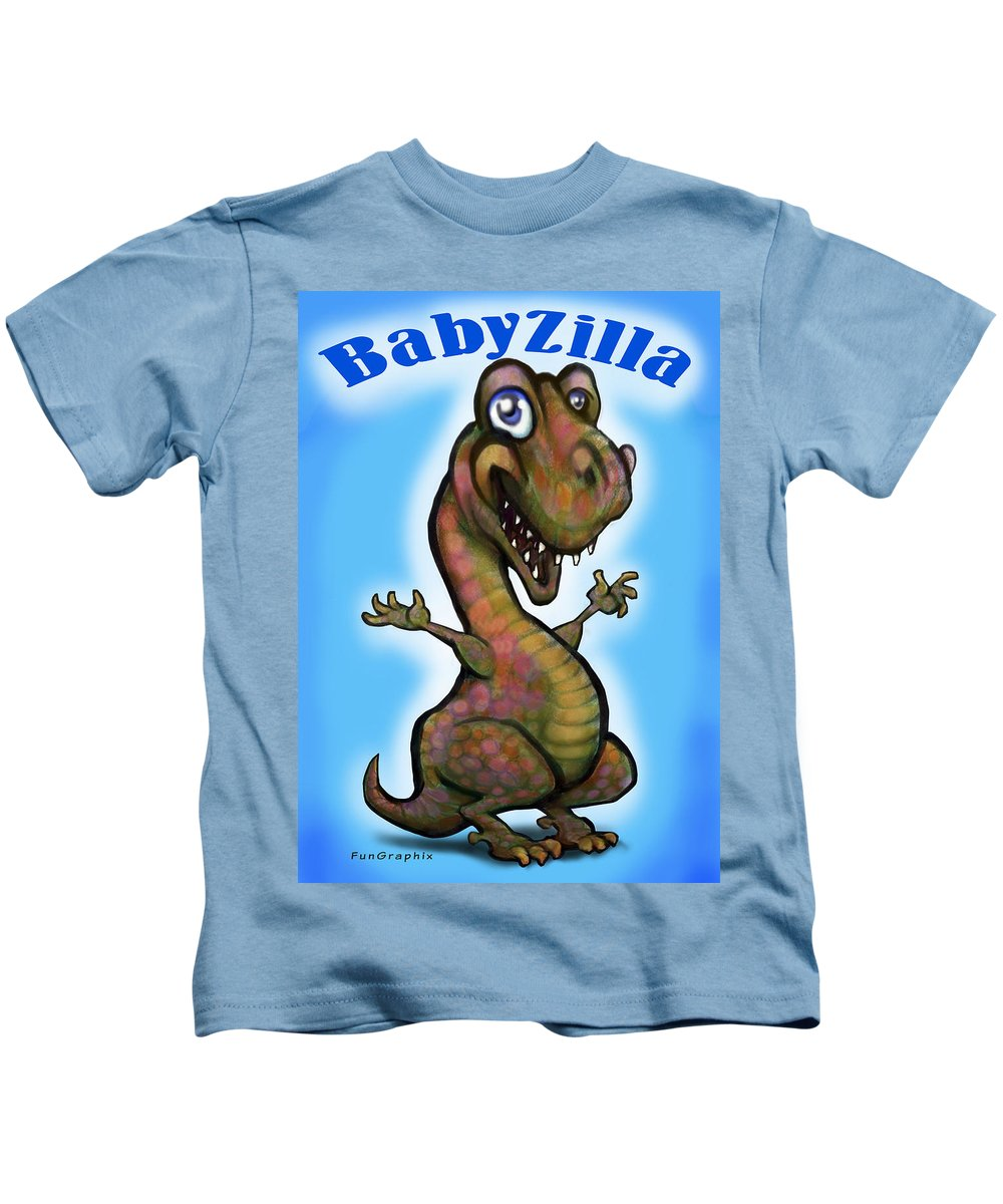 Babyzilla Kids T-Shirt featuring the greeting card Babyzilla by Kevin Middleton