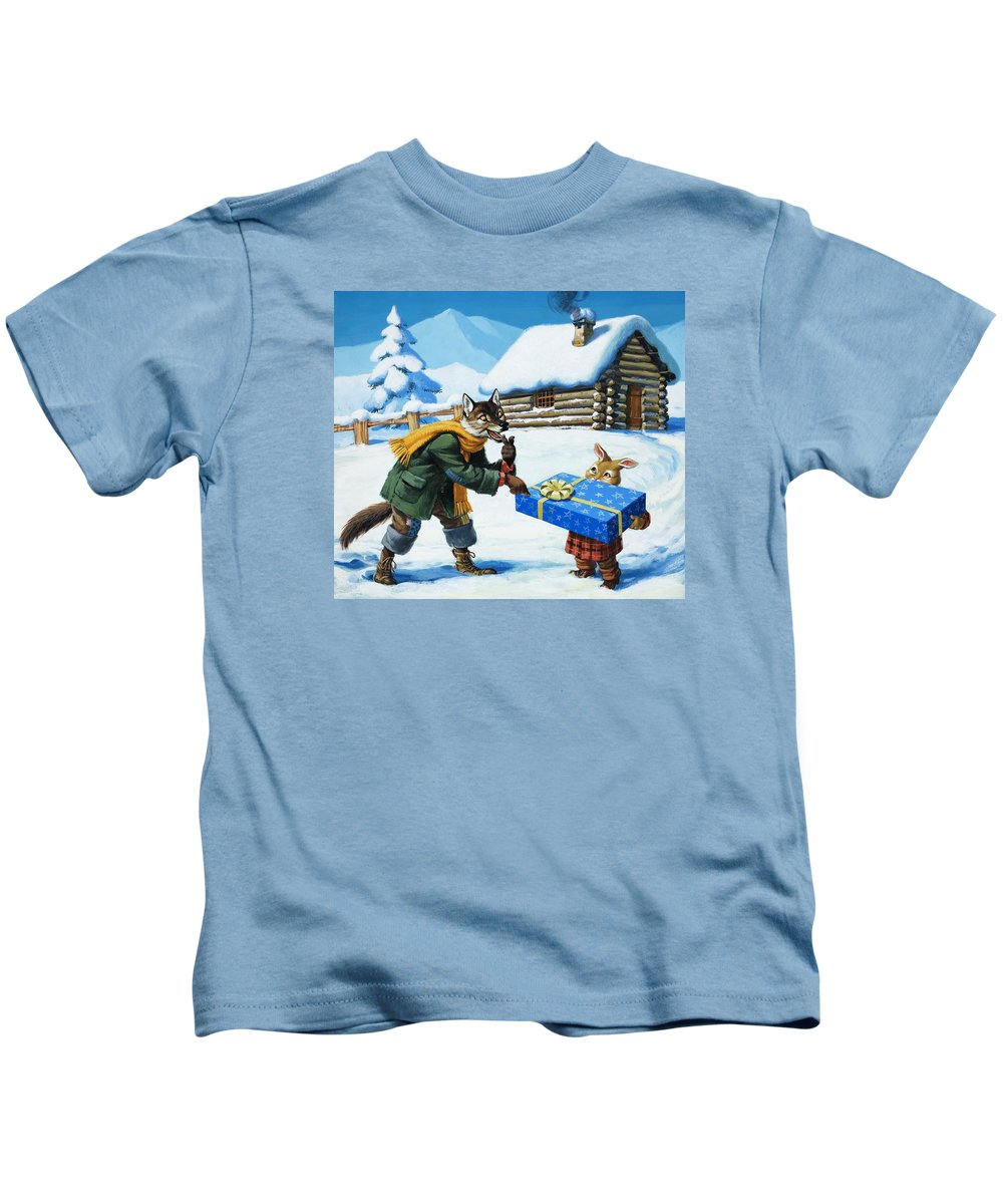 Brer Rabbit Kids T-Shirt featuring the painting Brer Rabbit by Virginio Livraghi
