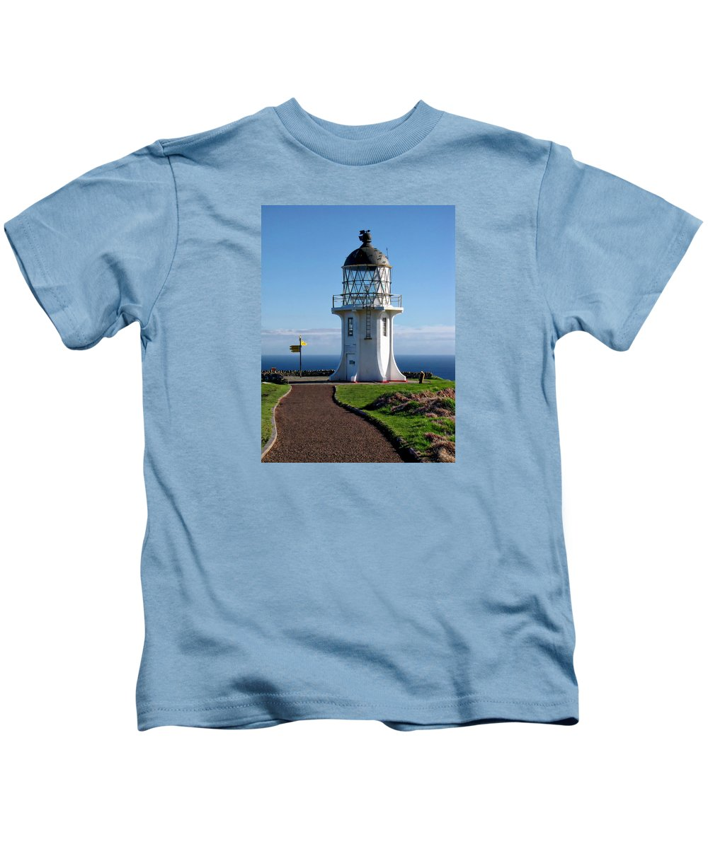 Path Kids T-Shirt featuring the photograph Cape Reinga Lighthouse by Anthony Dezenzio