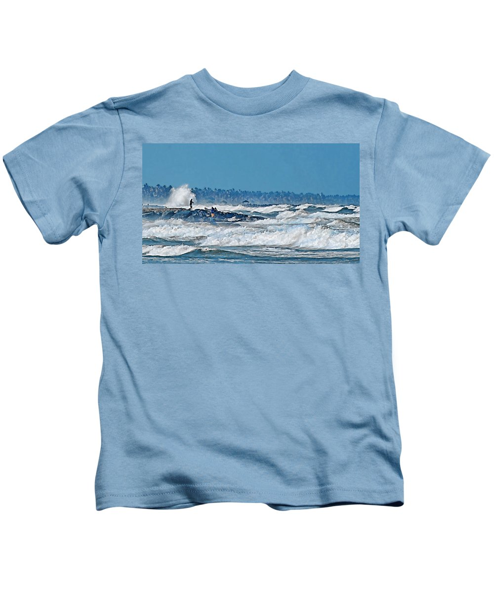 Sea Waves People Fish Rock Beach Trees Sky Blue White Kids T-Shirt featuring the photograph Caribbean Sea by Galeria Trompiz