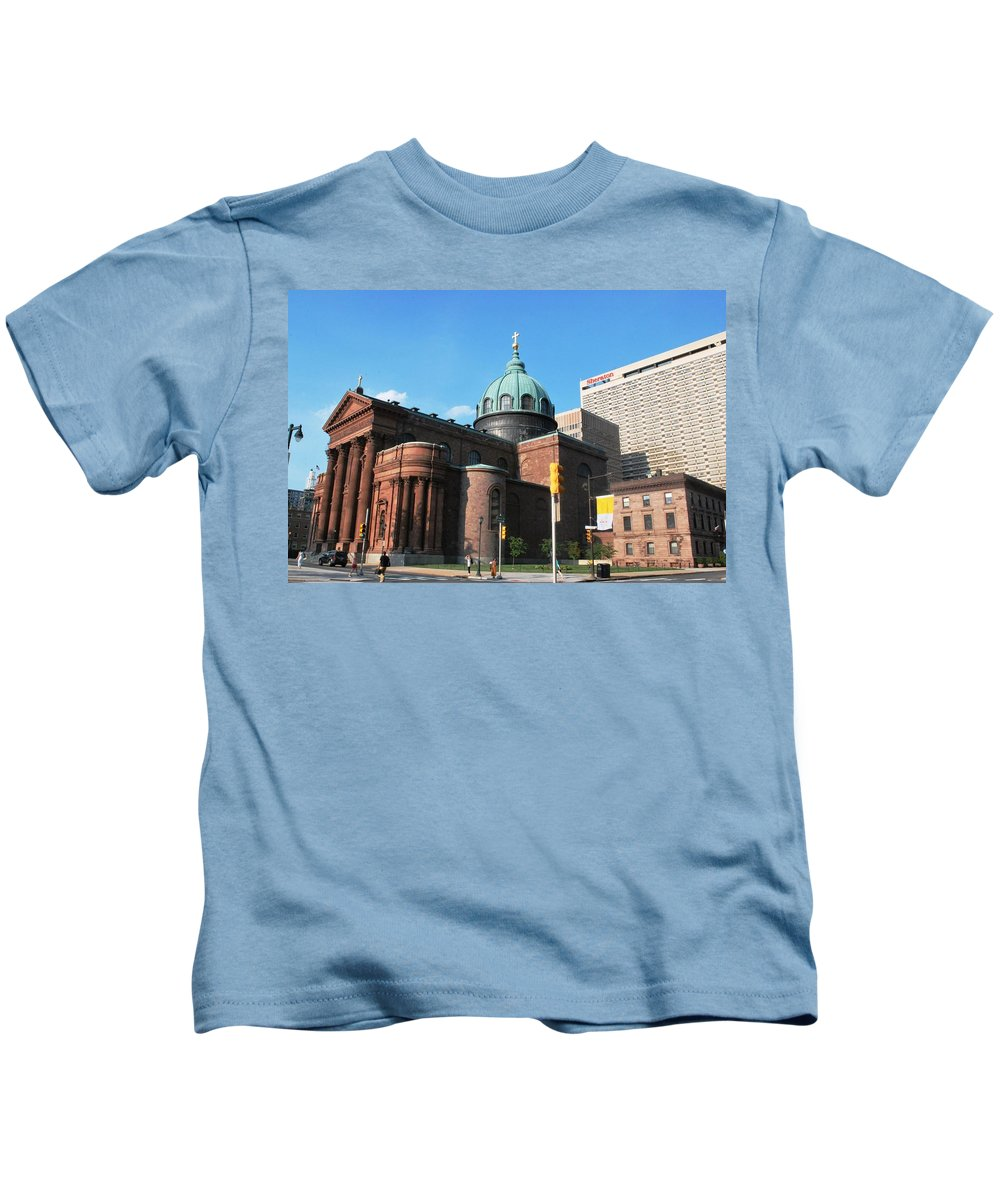 City Kids T-Shirt featuring the photograph Cathedral Basilica Of Saints Peter And Paul Philadelphia by Matt Quest