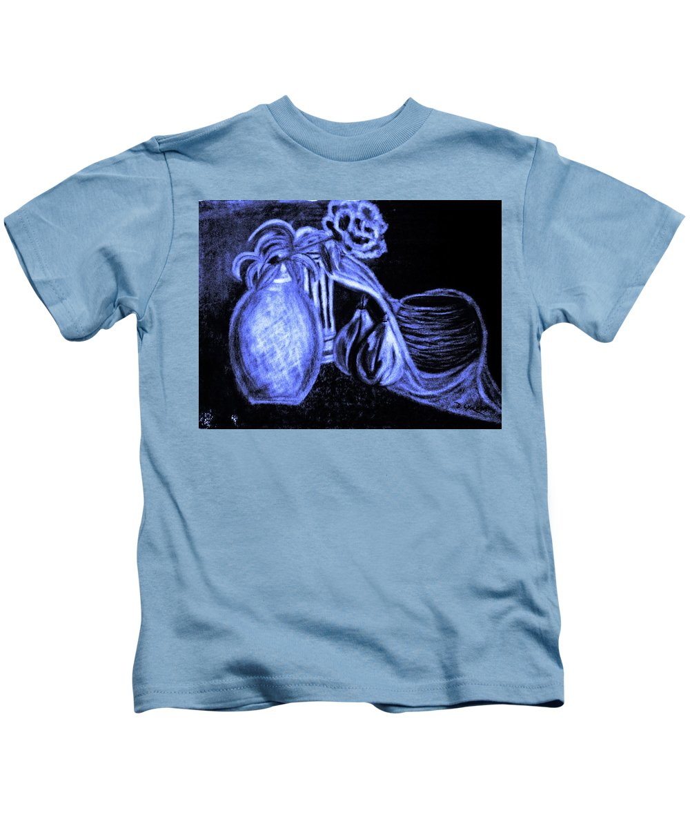 Blue Black White Charcoal Eraser Design Two Vases Rose Two Pears Basket Material Kids T-Shirt featuring the drawing Last Call Of The Night by Debra Lynch