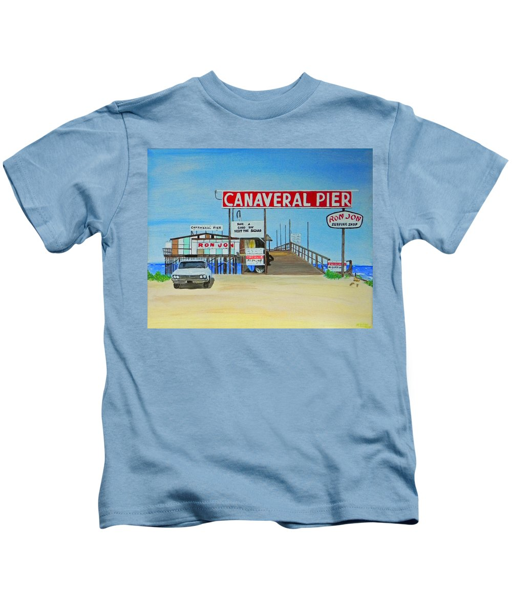 Wgilroy Kids T-Shirt featuring the painting Cocoa Beach/cape Canaveral Pier by MGilroy