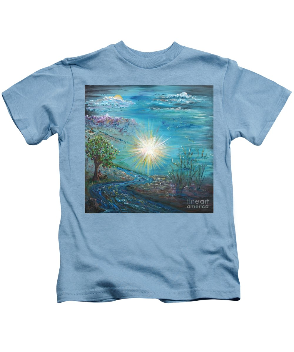 Creation Kids T-Shirt featuring the painting Creation by Nadine Rippelmeyer