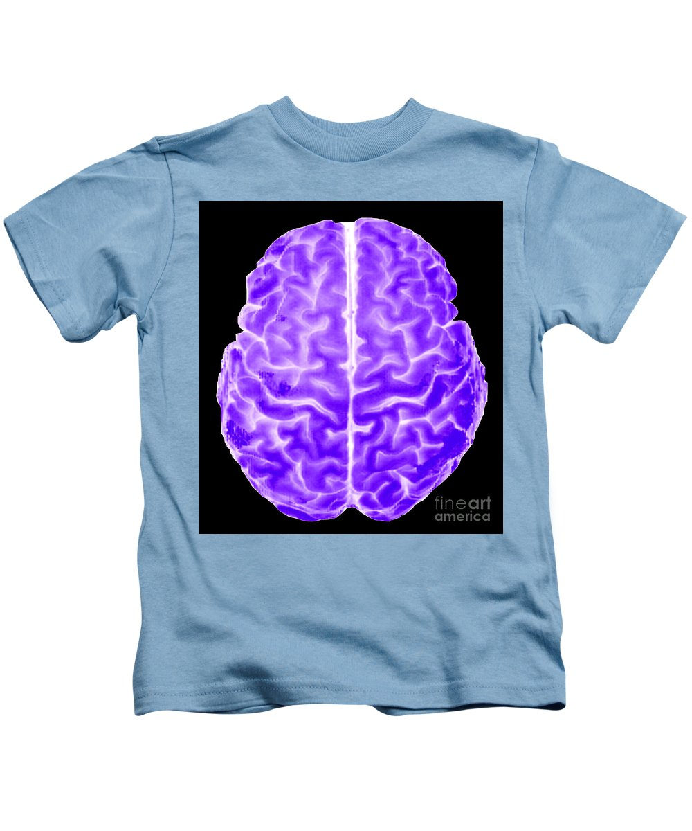 Mr Image Kids T-Shirt featuring the photograph Enhanced 3d Surface Rendering Of Brain by Living Art Enterprises