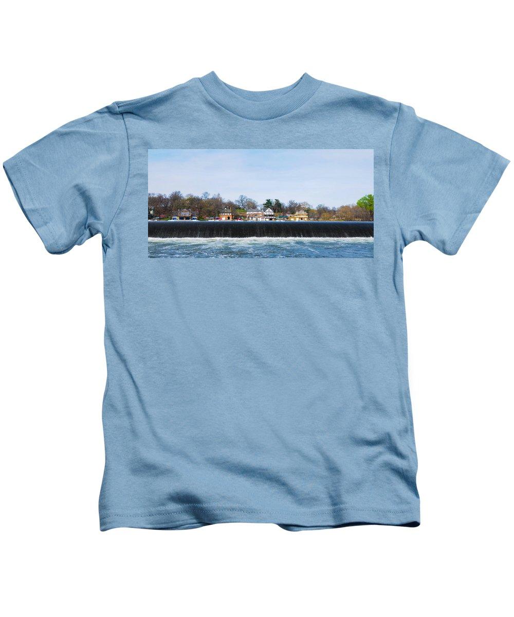 Fairmount Kids T-Shirt featuring the photograph Fairmount Dam - Boathouse Row by Bill Cannon
