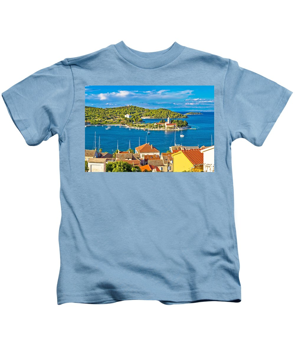 Bay Kids T-Shirt featuring the photograph Harbor Of Vis Island Panorama by Brch Photography