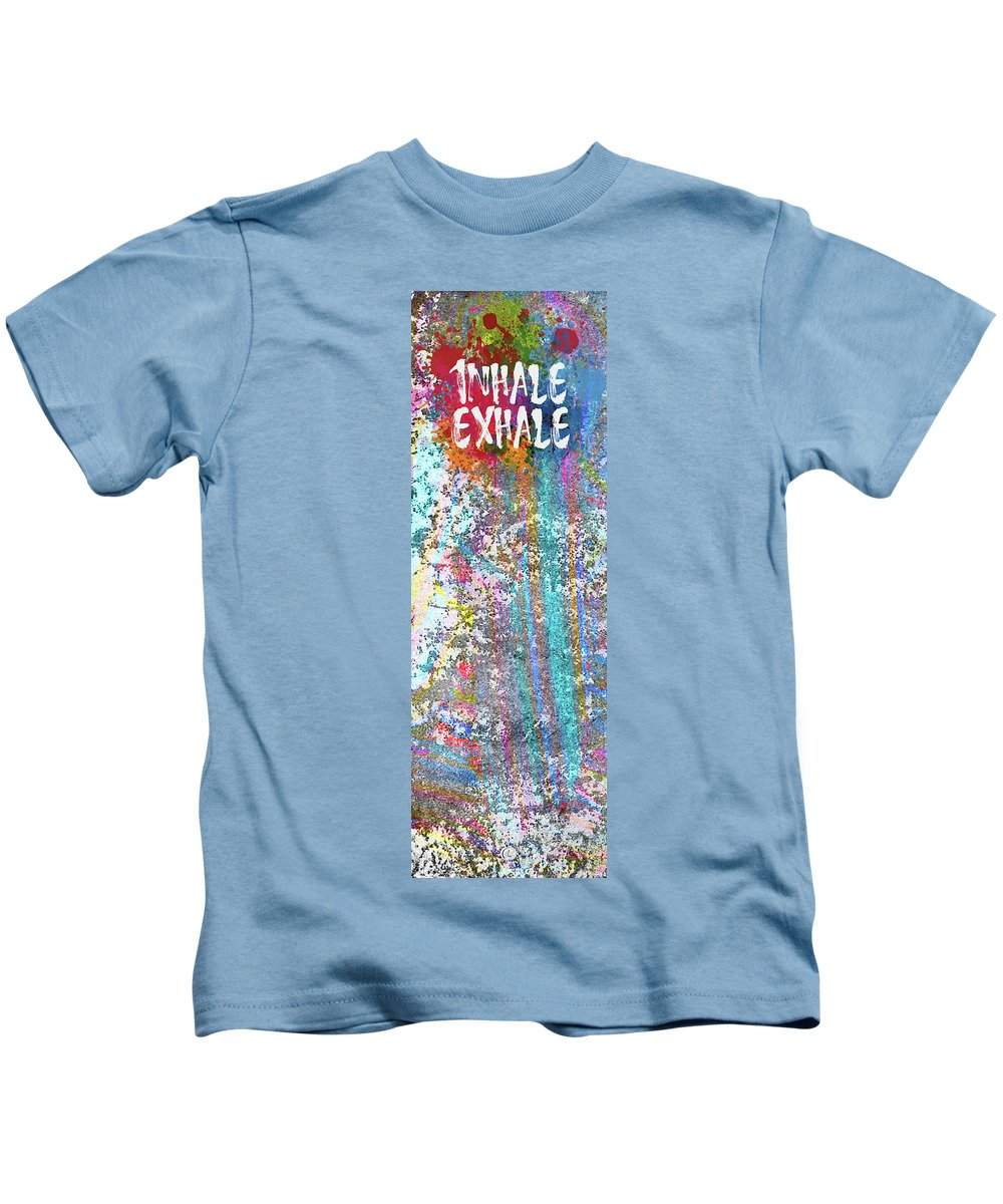Yoga Mat Kids T-Shirt featuring the digital art Inhale Exhale by George Lacy
