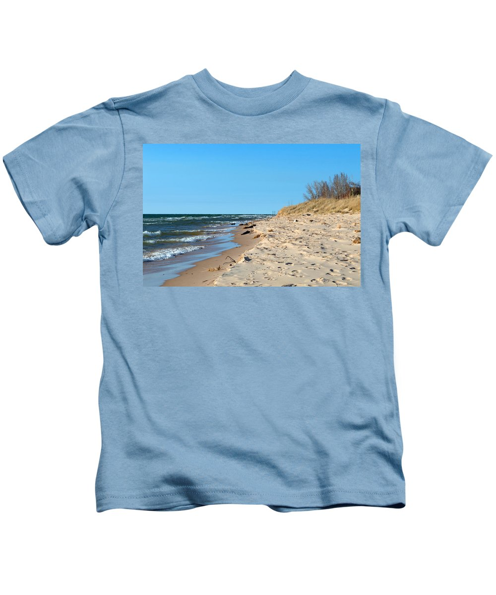 Lake Michigan Kids T-Shirt featuring the photograph Michigan Beach by Linda Kerkau