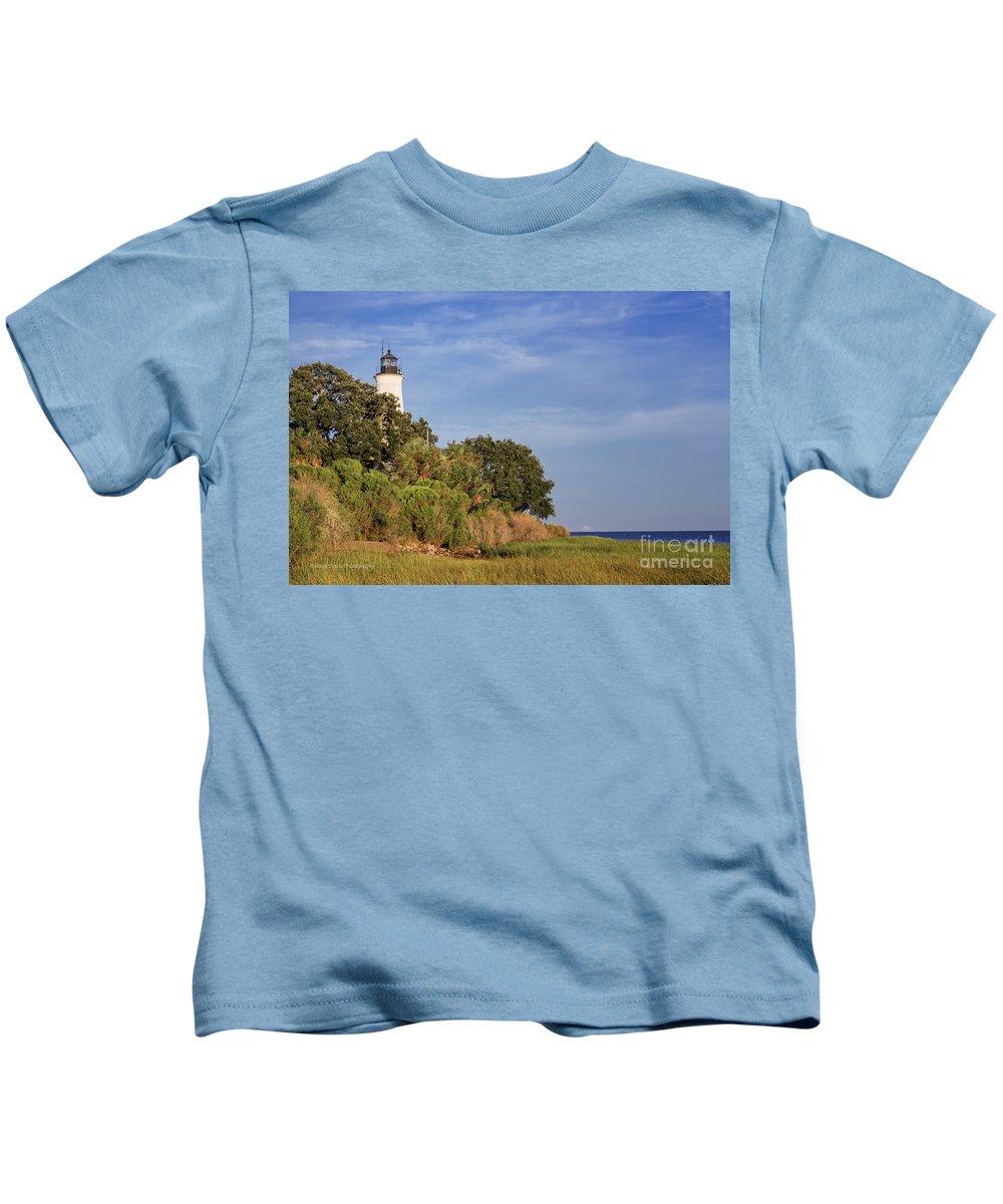 St. Mark's Lighthouse Kids T-Shirt featuring the photograph St. Mark's Lighthouse 28 by Maria Struss