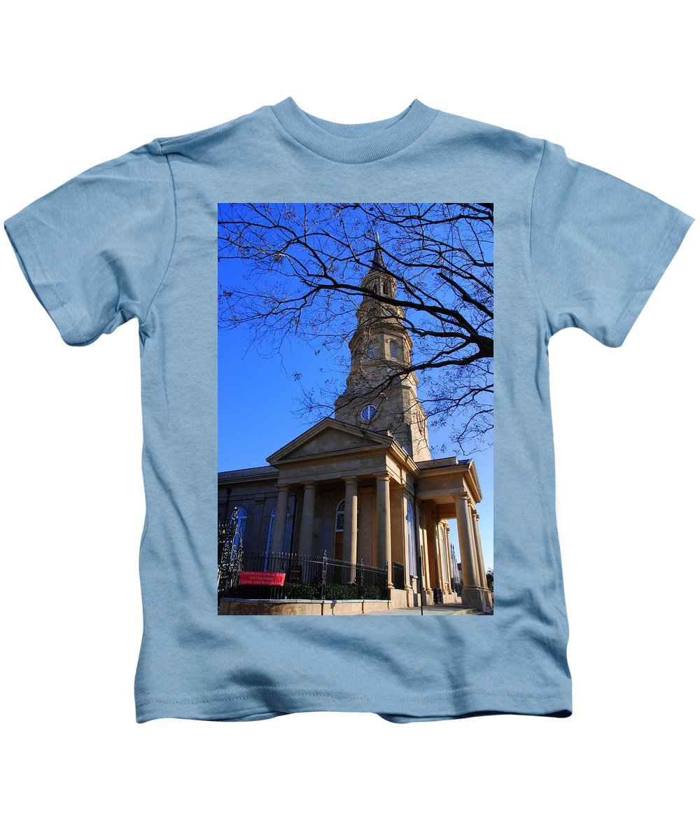 Photography Kids T-Shirt featuring the photograph St.philips Episcopal Church In Charleston Sc by Susanne Van Hulst