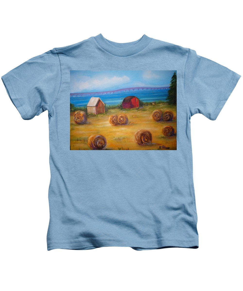 Landscape Kids T-Shirt featuring the painting Summertime by Eydie Paterson