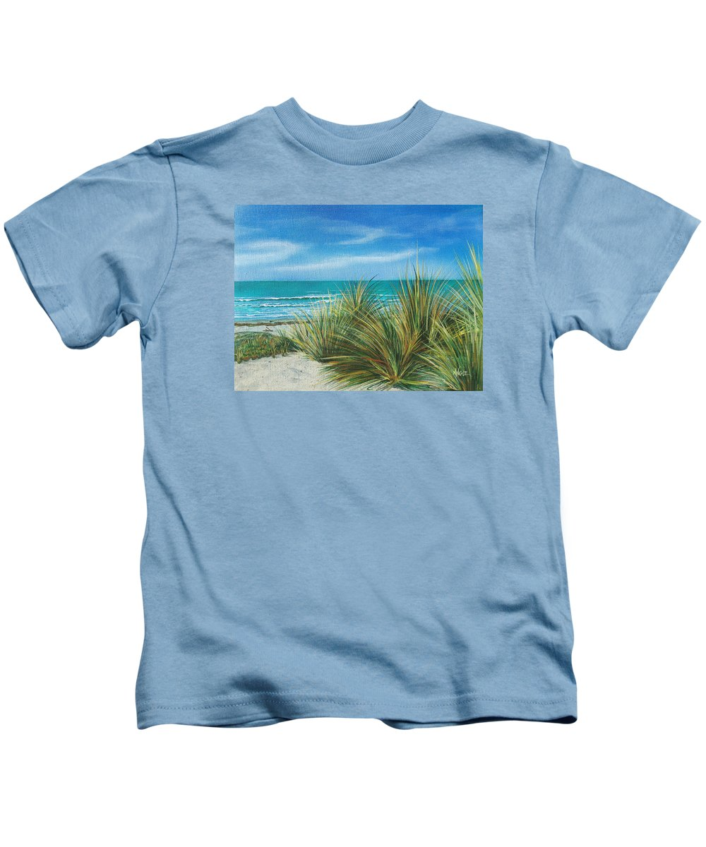 Sea Grass Kids T-Shirt featuring the painting Surf Beach by Angie Hamlin