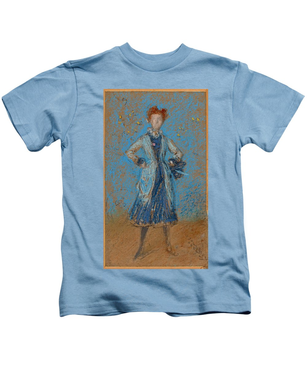 James Abbott Mcneill Whistler Kids T-Shirt featuring the drawing The Blue Girl by James Abbott McNeill Whistler