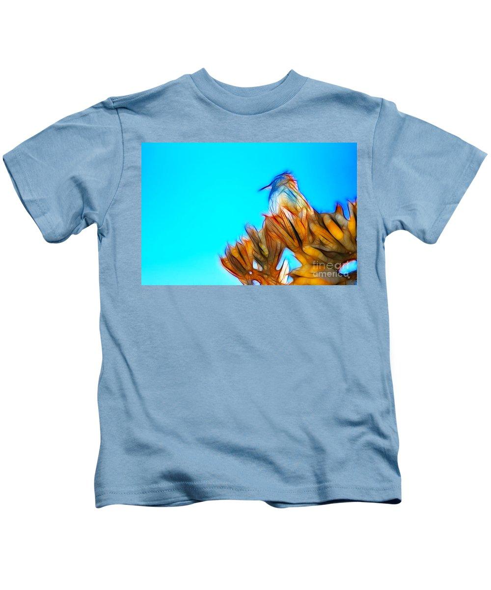 Fine Art Kids T-Shirt featuring the photograph The Cactus Wren by Donna Greene