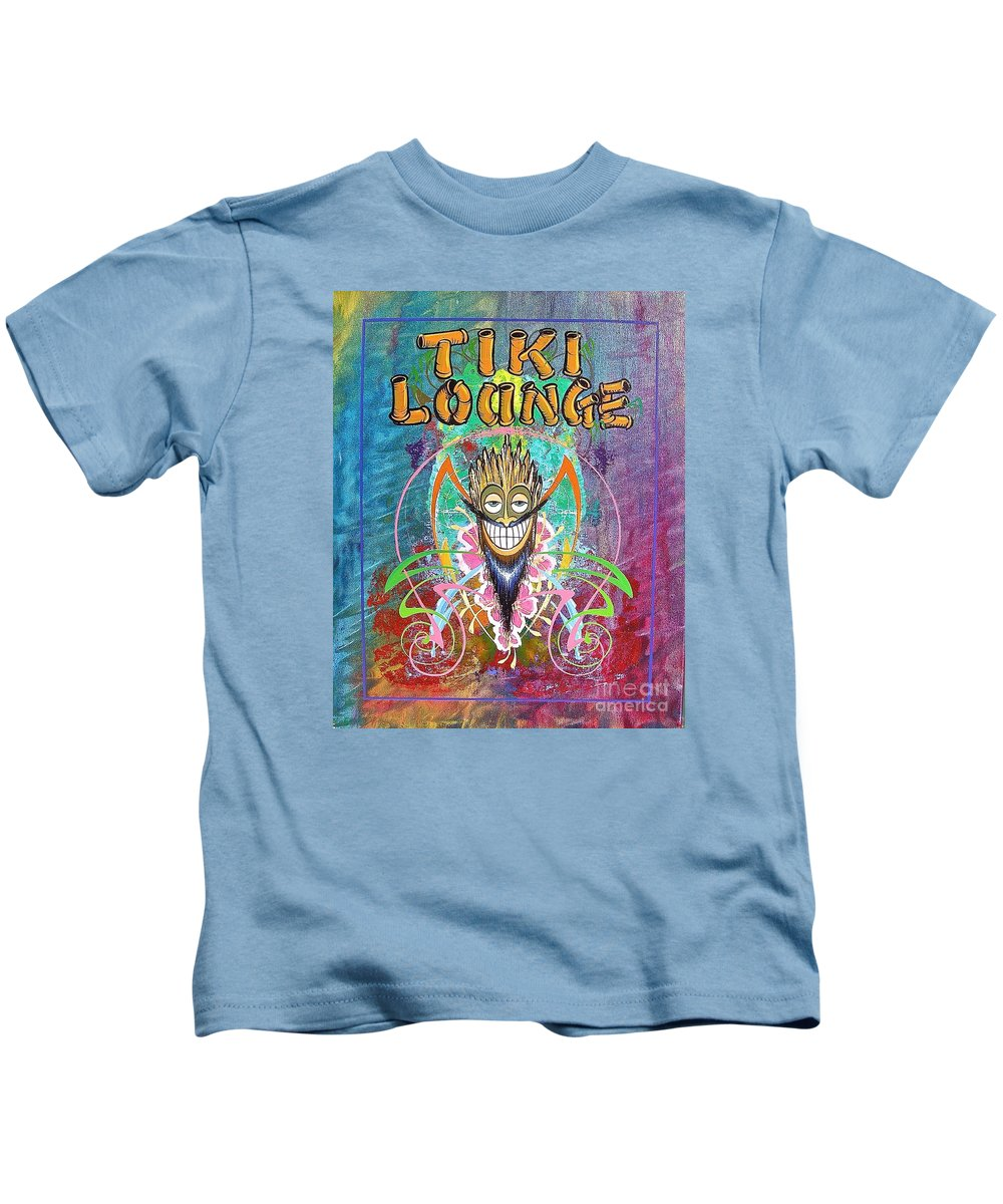 Tiki Lounge Kids T-Shirt featuring the painting Tiki Lounge by Alan Johnson