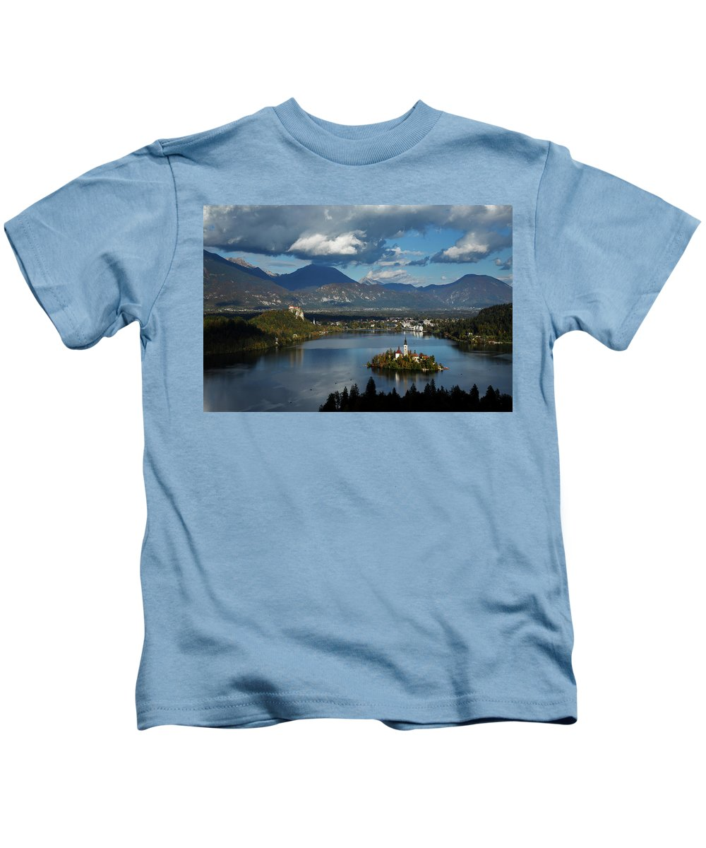 Bled Kids T-Shirt featuring the photograph View Of Lake Bled From Ojstrica by Ian Middleton