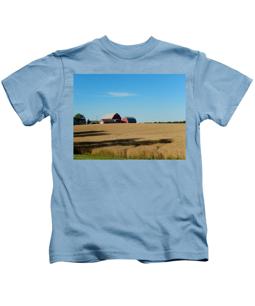 Shadows Kids T-Shirt featuring the photograph Farm Fields In Summer by Susan Wyman