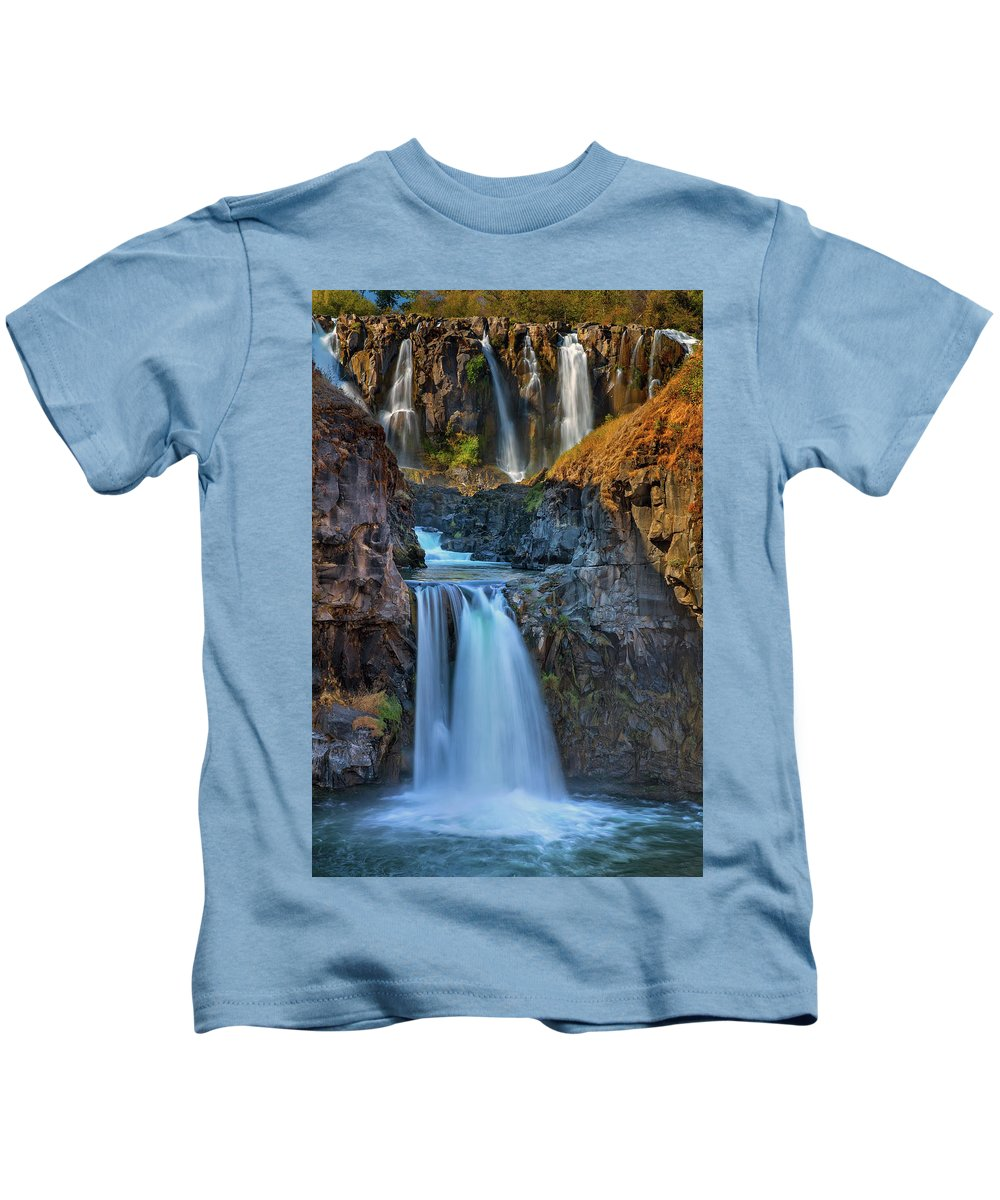Celestial Falls Kids T-Shirt featuring the photograph White River Falls State Park by David Gn
