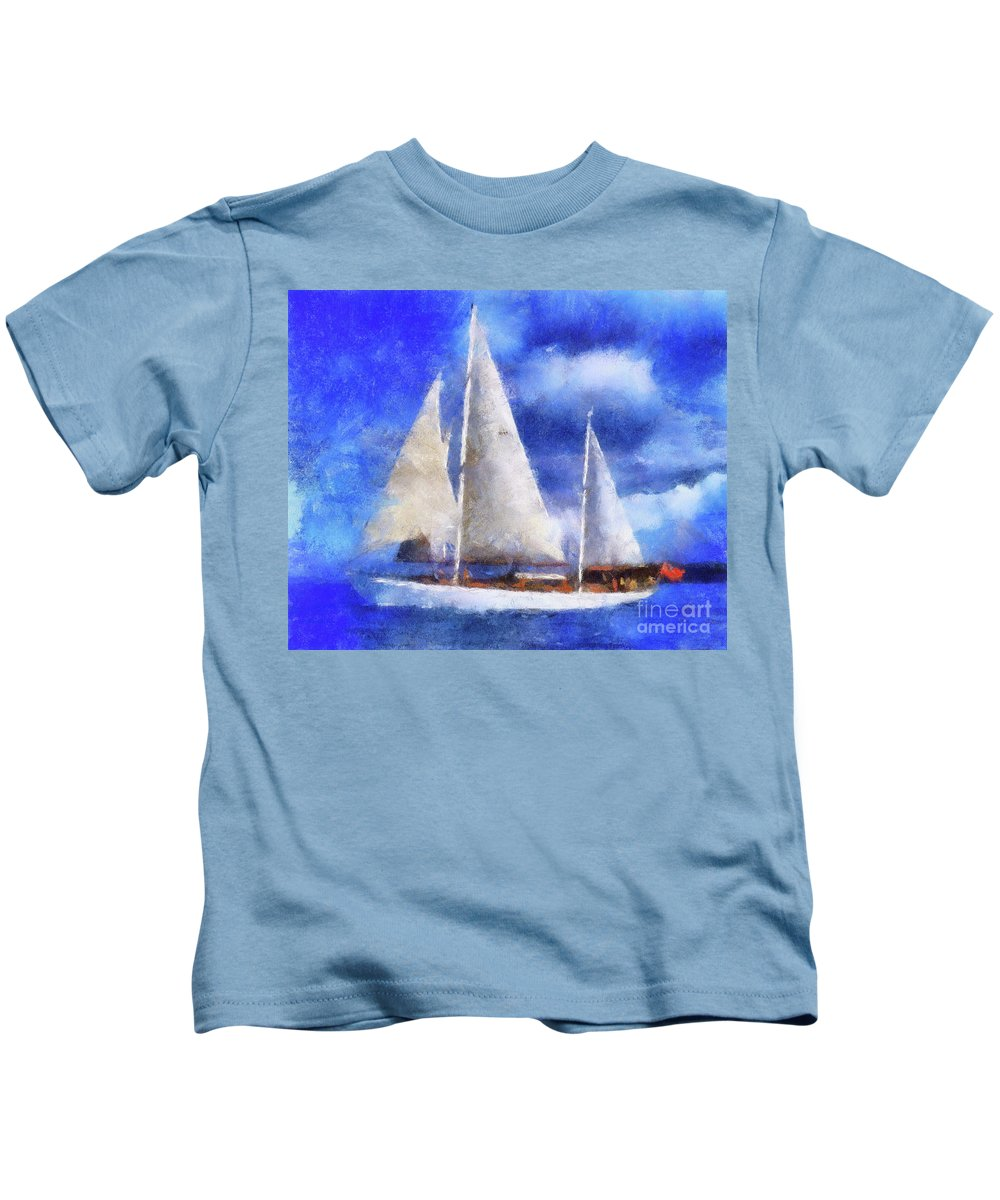 Ships Kids T-Shirt featuring the digital art Ships Ahoy by Sobano S
