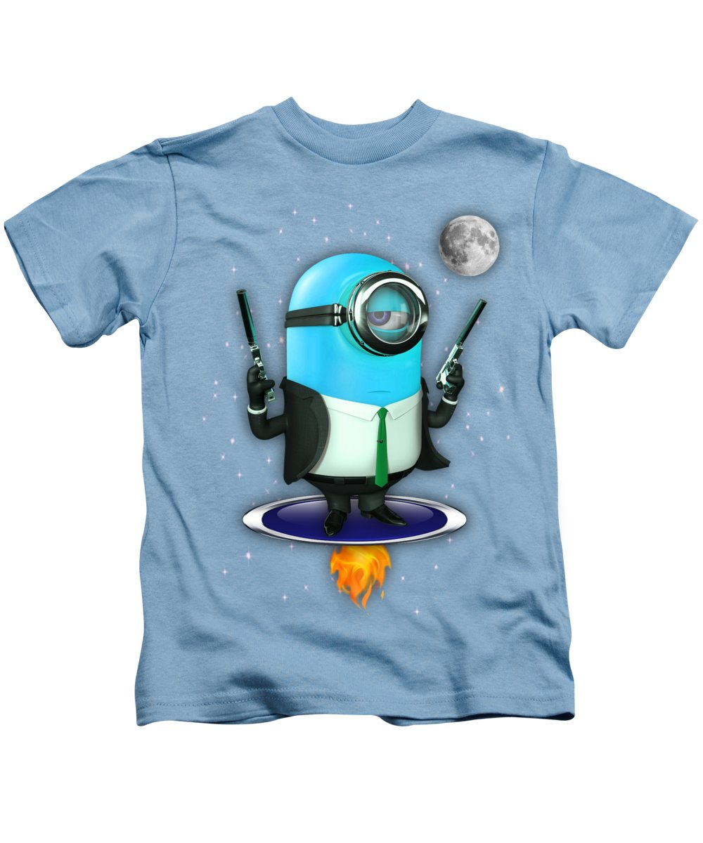 Minion Kids T-Shirt featuring the mixed media Minions Collection by Marvin Blaine