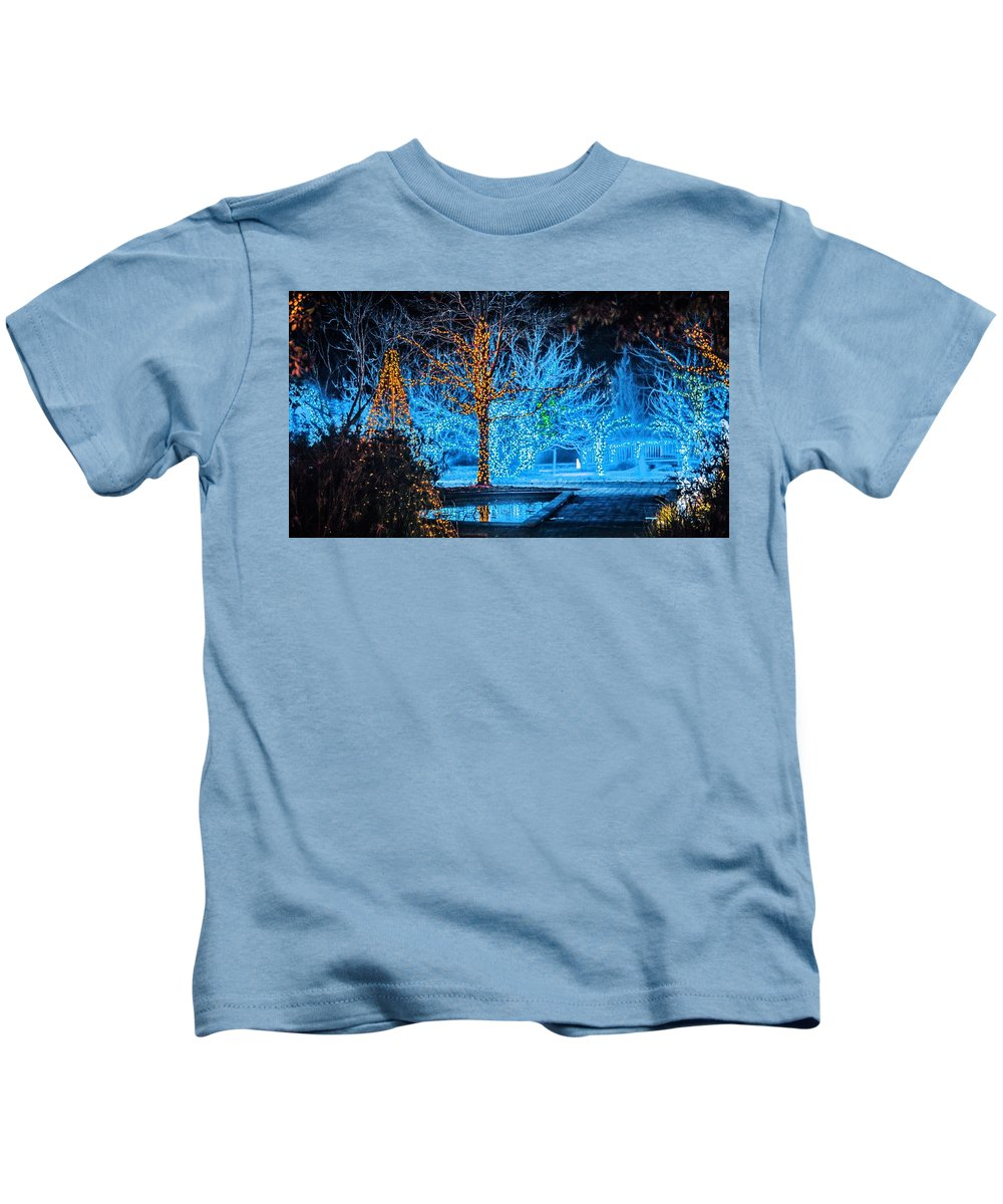 Lights Kids T-Shirt featuring the photograph Christmas Season Decorations And Lights At Gardens by Alex Grichenko