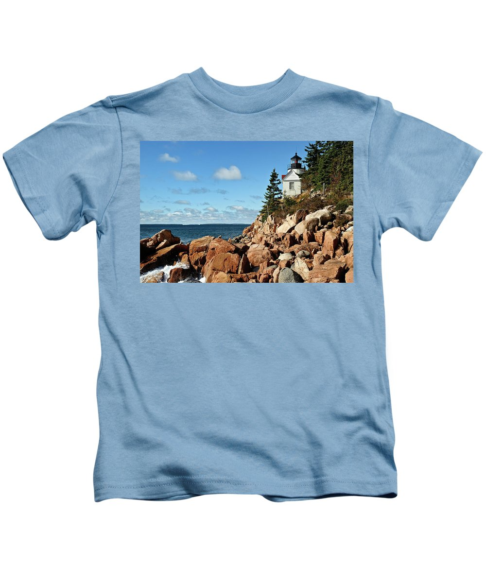 Acadia National Park Kids T-Shirt featuring the photograph Bass Harbor Lighthouse by John Greim
