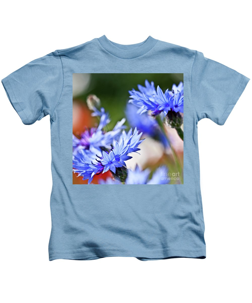 Cornflower Kids T-Shirt featuring the photograph Cornflower by Heiko Koehrer-Wagner