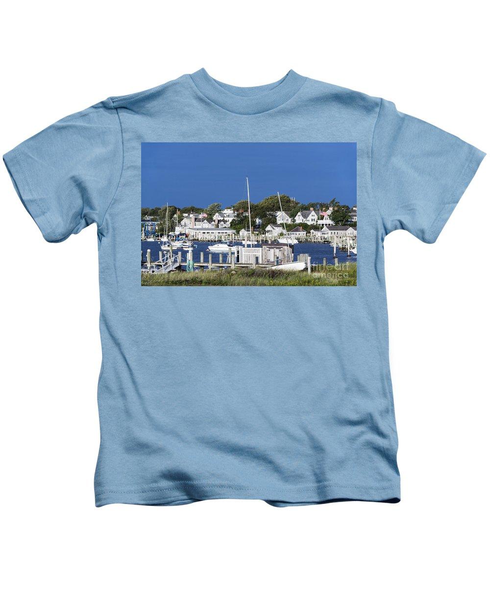 Edgartown Kids T-Shirt featuring the photograph Edgartown Harbor by John Greim