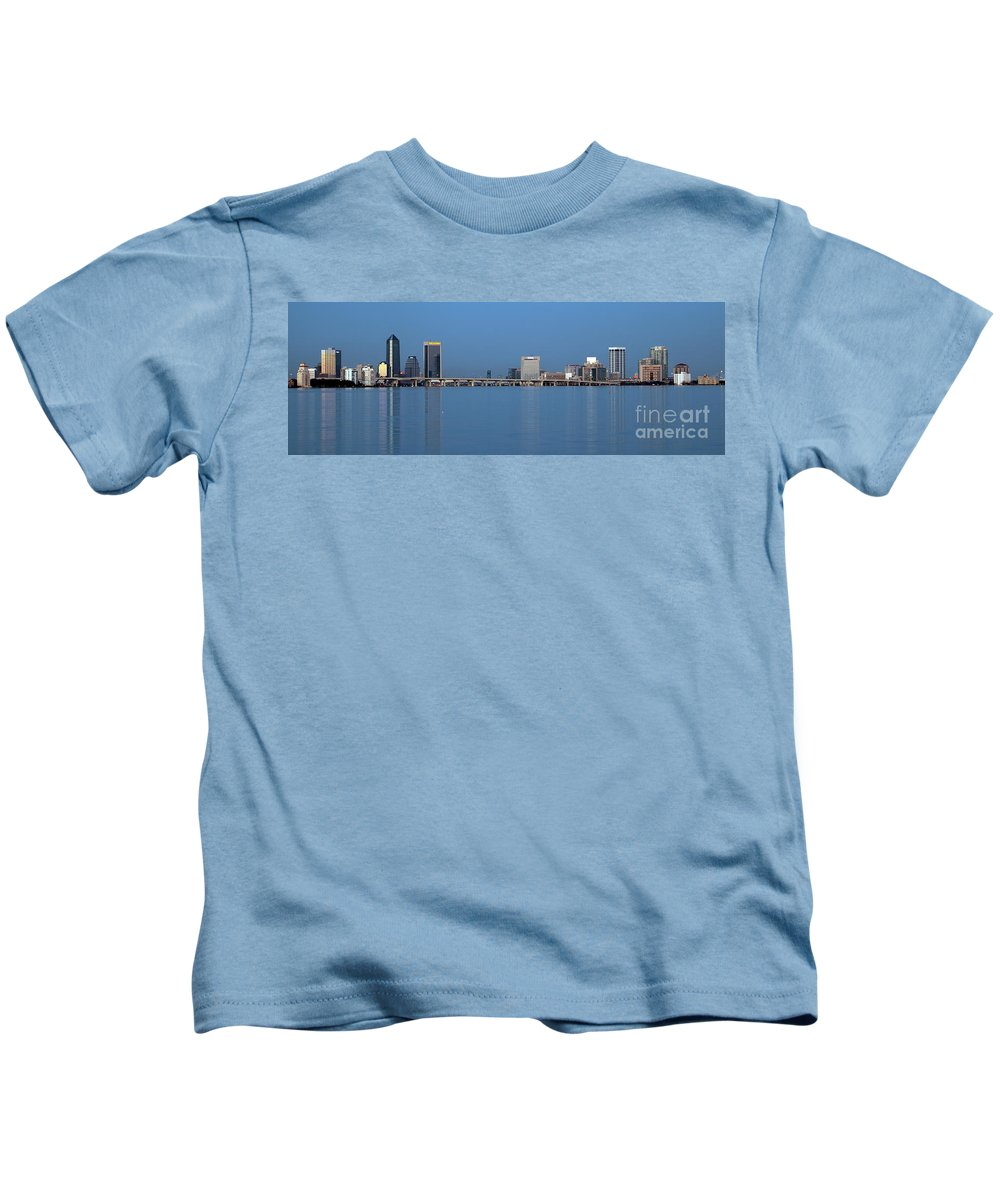 Florida Kids T-Shirt featuring the photograph Jacksonville Skyline Panorama by Bill Cobb