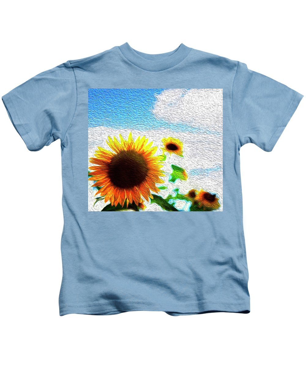 Beautiful Kids T-Shirt featuring the digital art Sunflowers Abstract by Les Cunliffe