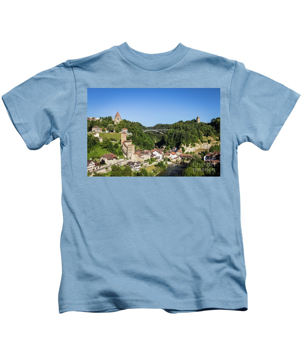 Europe Kids T-Shirt featuring the photograph Fribourg Old Town In Switzerland by Didier Marti