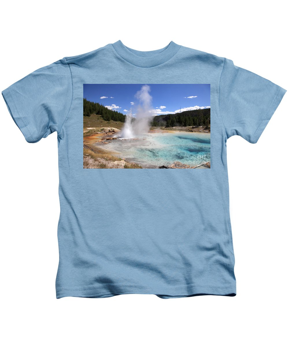 Imperial Geyser Kids T-Shirt featuring the photograph Imperial Geyser, Yellowstone Np by Ted Kinsman