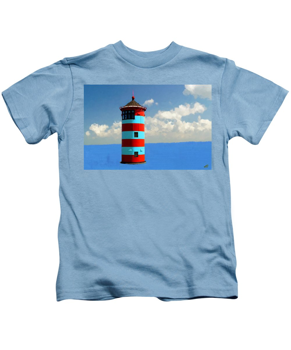 Bruce Kids T-Shirt featuring the painting Lighthouse On The Sea by Bruce Nutting