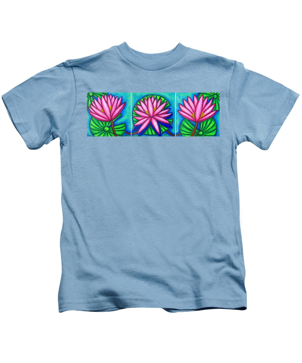 Water Lilies Kids T-Shirt featuring the painting 3 Pink Gems by Lisa Lorenz
