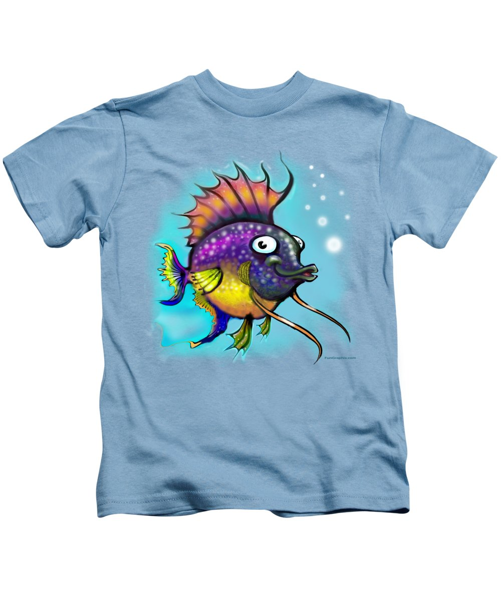 Rainbow Kids T-Shirt featuring the painting Rainbow Fish by Kevin Middleton