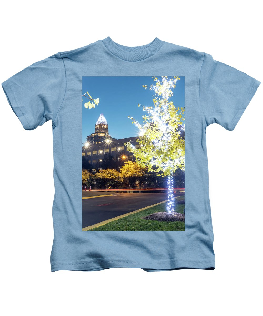Charlotte Kids T-Shirt featuring the photograph Christmas Season Decorations Around Charlotte North Carolina And by Alex Grichenko