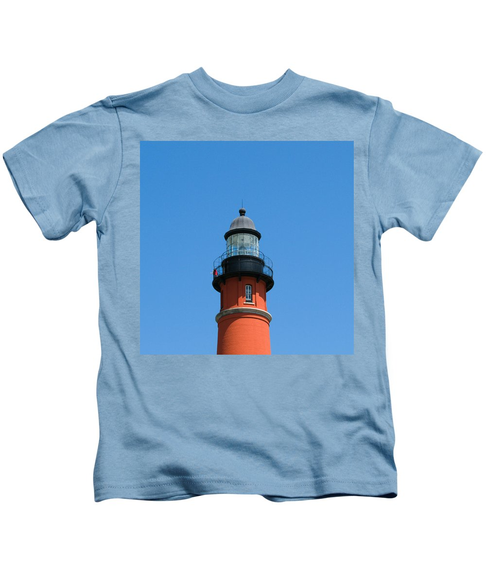 Ponce; De; Leon; Lighthouse; Light; House; Beacon; Navigation; Aid; Lens; Fresnel; Mosquito; Florida Kids T-Shirt featuring the photograph Ponce De Leon Inlet Lighthouse by Allan Hughes