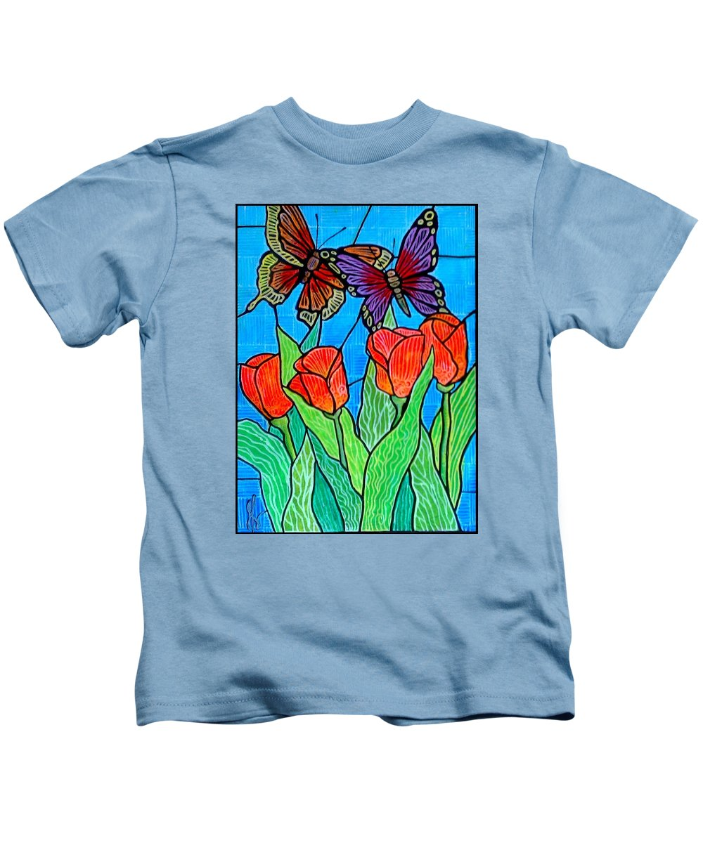 Butterflies Kids T-Shirt featuring the painting 4 Tulips and 2 Butterflies by Jim Harris