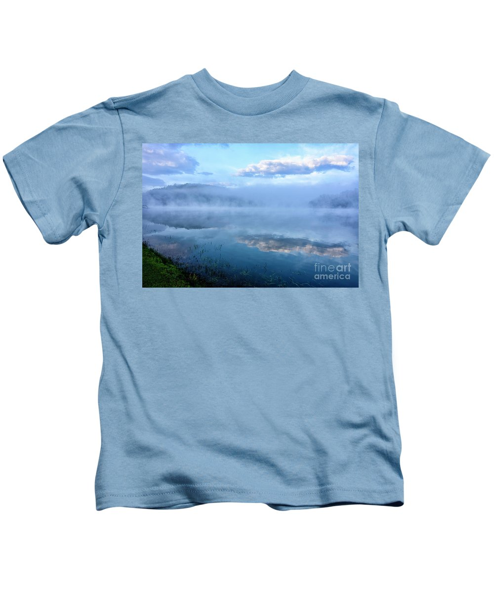 Big Ditch Lake Kids T-Shirt featuring the photograph Misty Spring Morning by Thomas R Fletcher