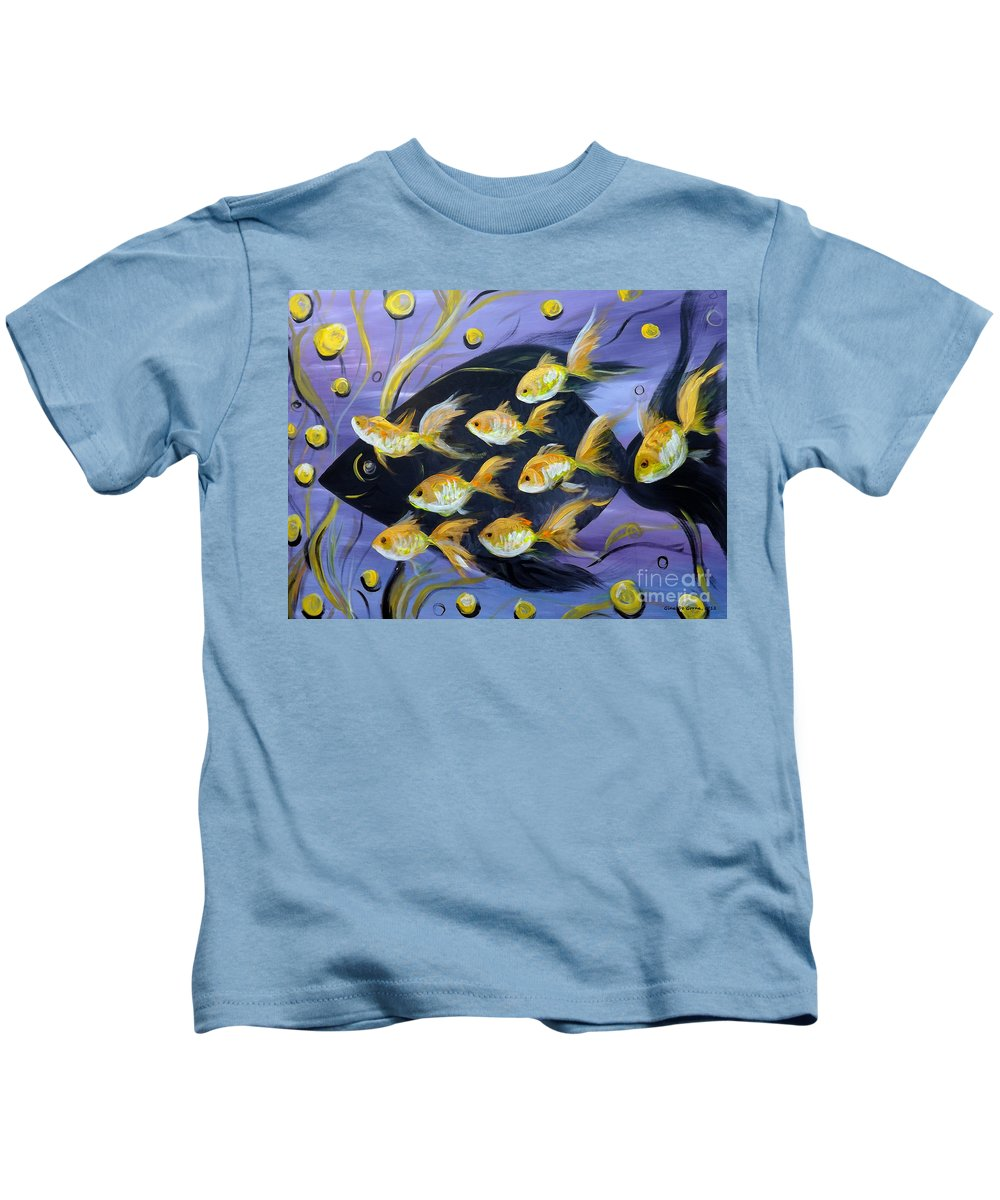 Fish Kids T-Shirt featuring the painting 8 Gold Fish by Gina De Gorna