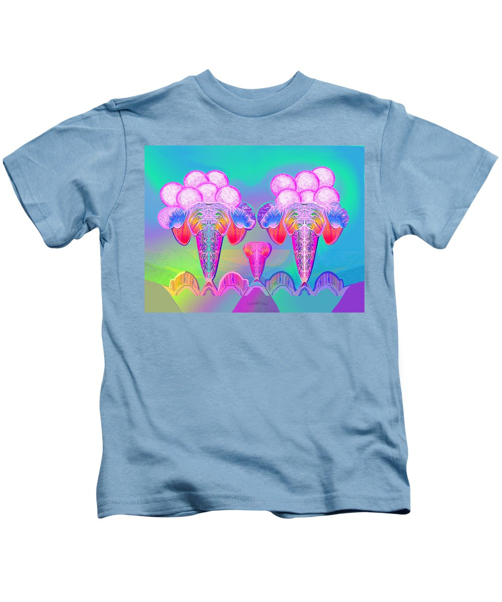 917 Kids T-Shirt featuring the painting 917 - Icecream Summerfruit A by Irmgard Schoendorf Welch
