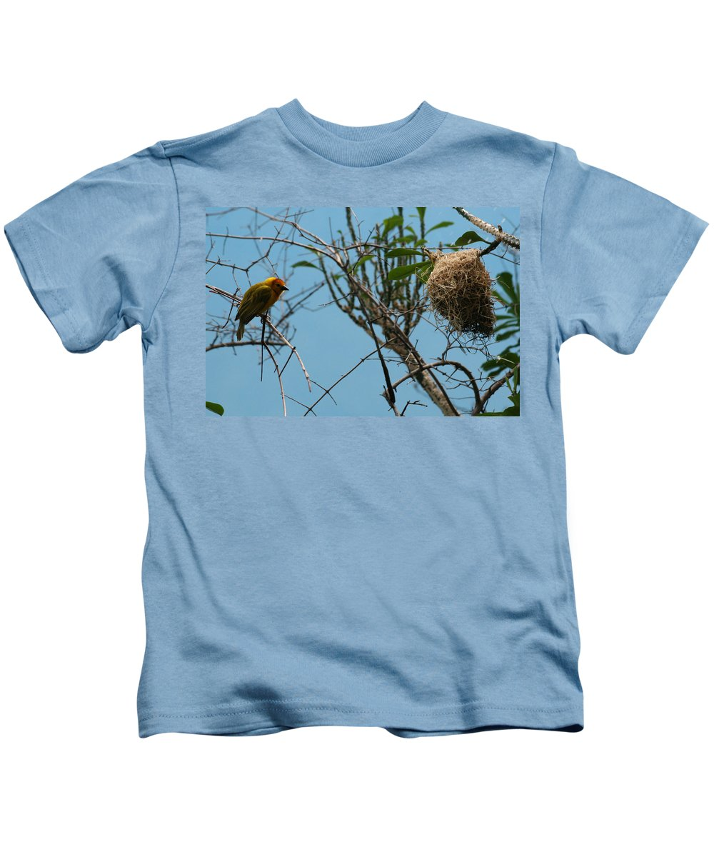 Bird Kids T-Shirt featuring the photograph A Bird In 3d by Y C