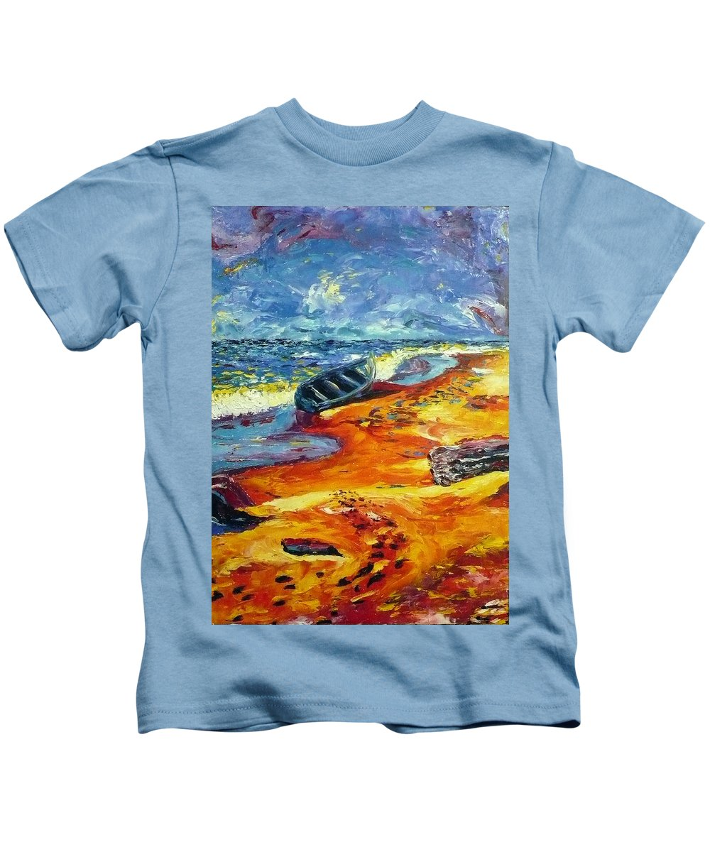 Landscape Kids T-Shirt featuring the painting A Canoe At The Beach by Ericka Herazo